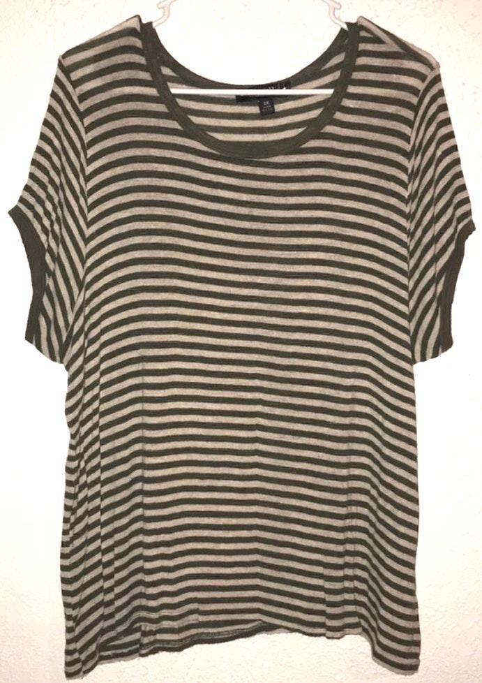 Forever 21 Olive Green Stripped Shirt