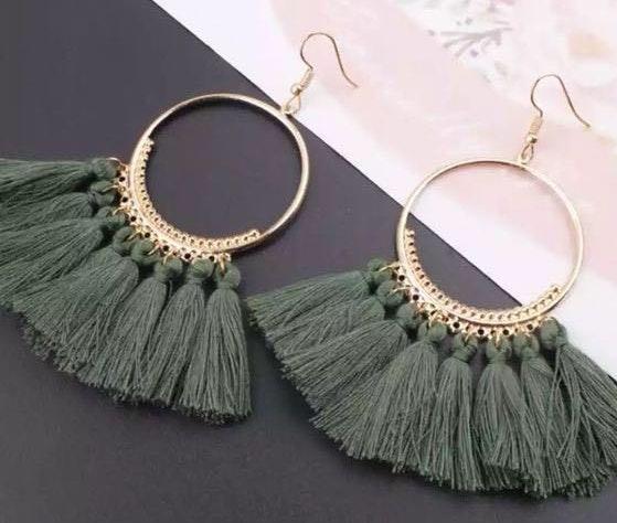 NWT Olive Green Boho Hoops Earrings