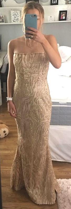 L'ATISTE Strapless Gold Dress