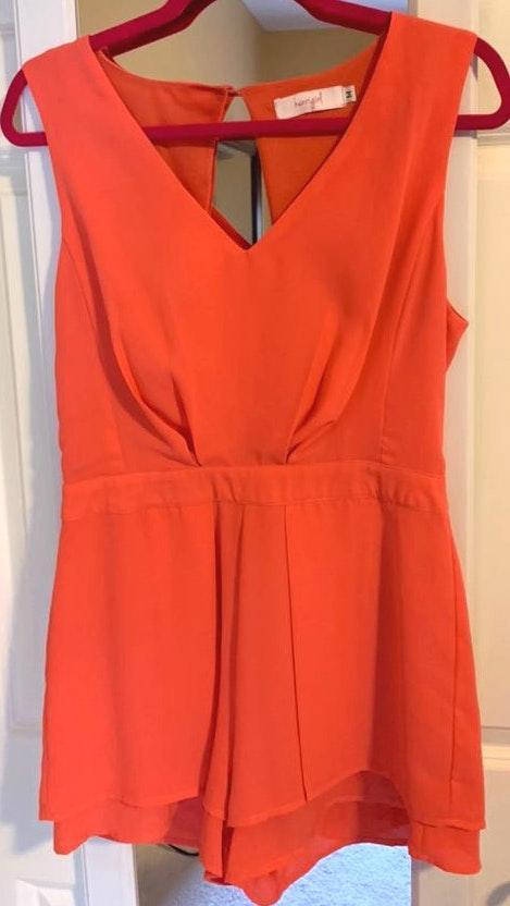 Henri Girl Peachy Orange Romper