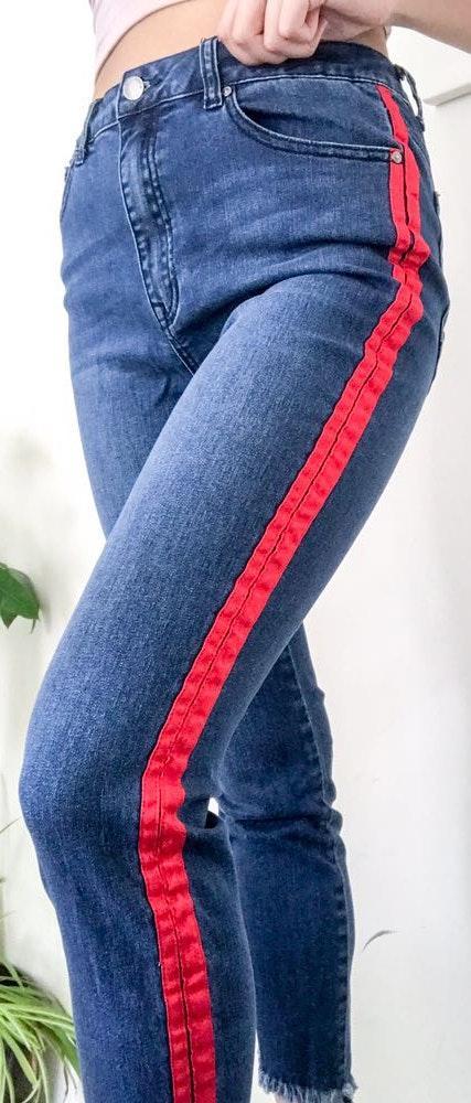 Revolve Skinny Ankle Jean W/ Red Stripe