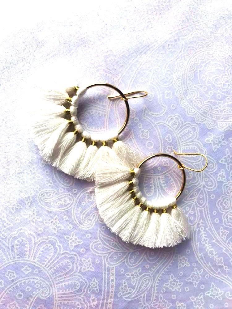 White Fan Earrings