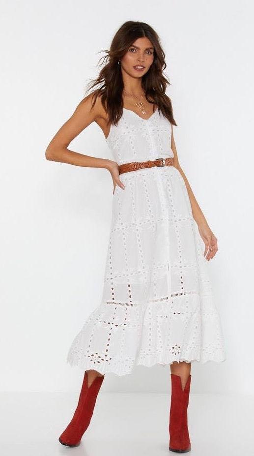 Nasty Gal White Lace Midi Dress