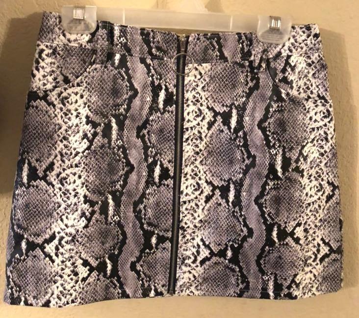 Wild Honey Leather Snake Skin Skirt