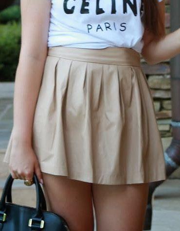 L'ATISTE Beige Leather Skirt