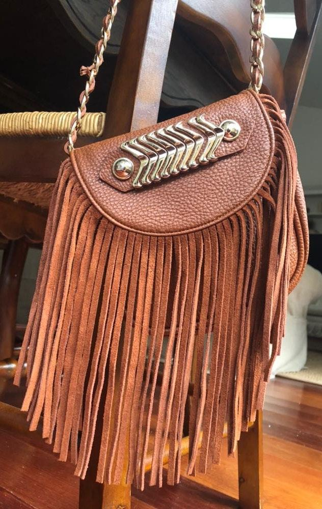 Like Dreams Brown Faux Leather Fringe Purse