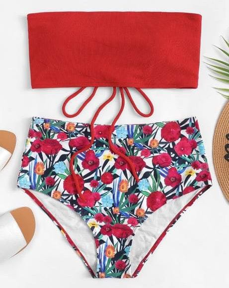 High Waisted Bandeau Bathing Suit
