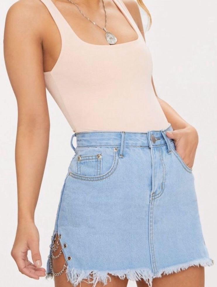 Pretty Little Thing Chained Denim Mini Skirt