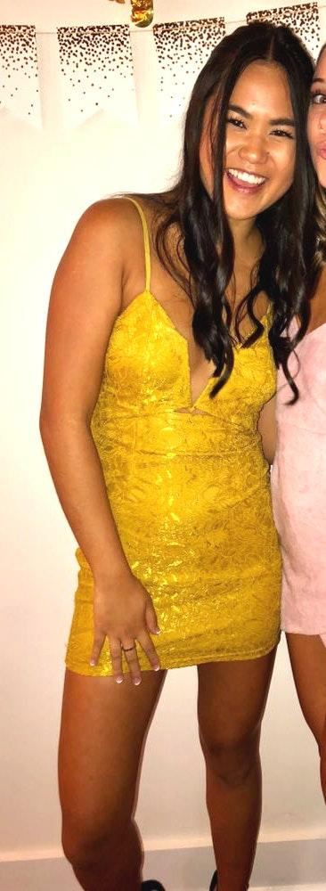 Urban Outfitters yellow lace dress