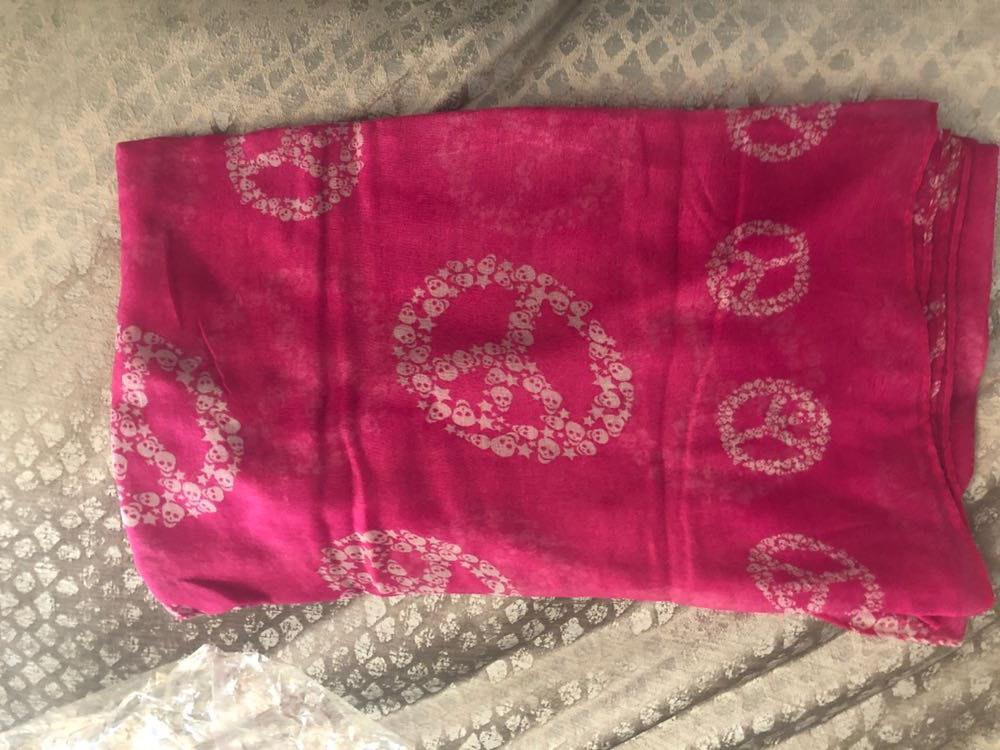 Amazon Hot Pink Peace Sign Scarf