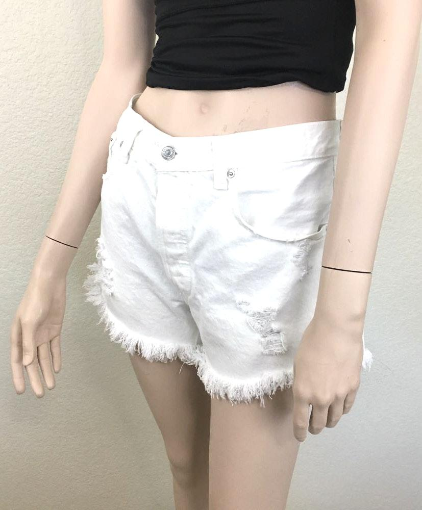 "Levi's 501 White Denim Cutoff Shorts 33"" Waist"