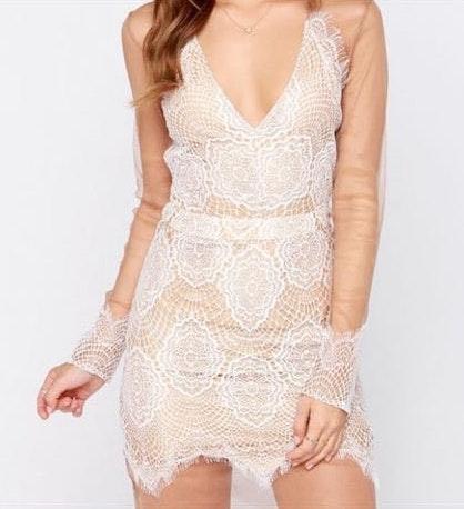 Lulus Creamwhite Lace Dress