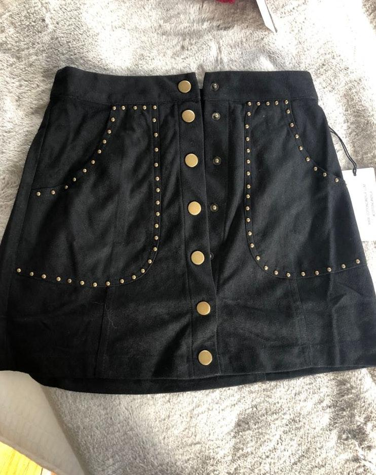 Cotton Candy LA Black Skirt With Gold Accents