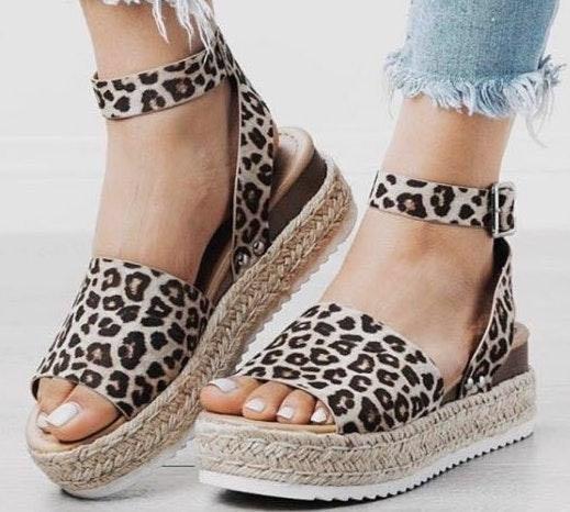 Cheetah Print Espadrille Platforms