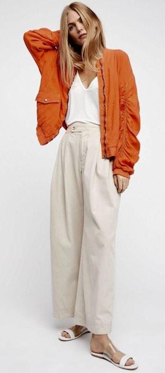 Free People Over Sized Ruched Bomber Jacket