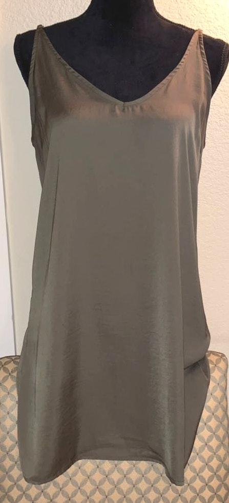 Honey Punch Olive Green Slip Dress