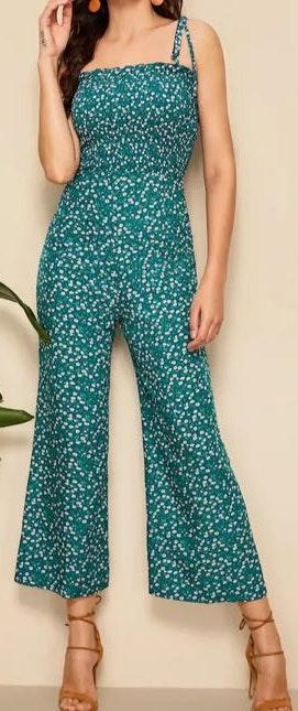SheIn Green With White Flower Detail Jumpsuit