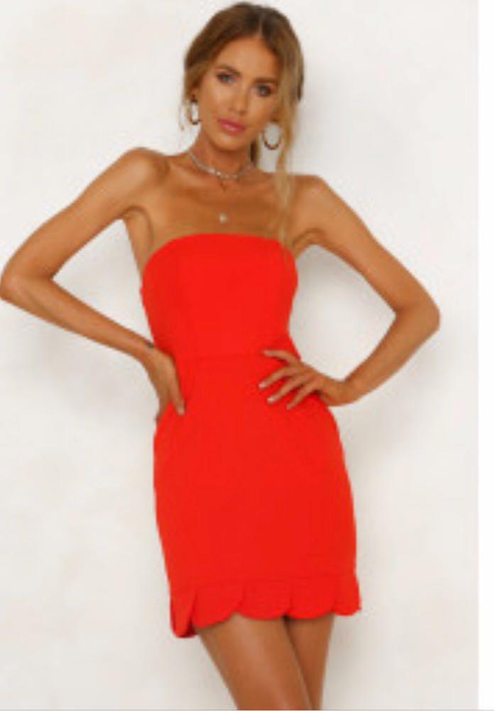 Hello Molly Red Scallop Dress