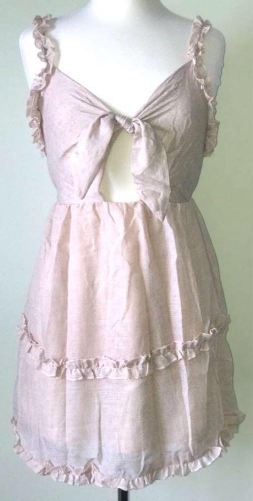 a3e344a93e Sweet Threads Tie Front Sleeveless Flowy Mini Dress Taupe