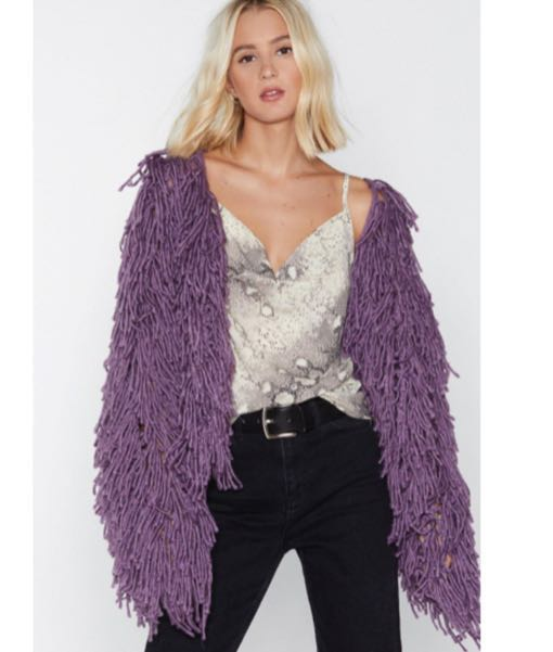 Nasty Gal Purple Shag Coat