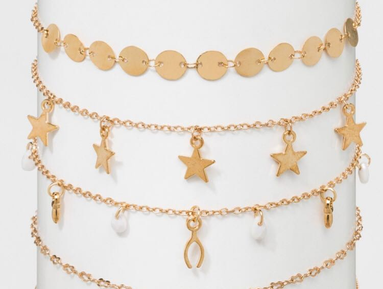 Trendy Choker Gold Set Star & Disc