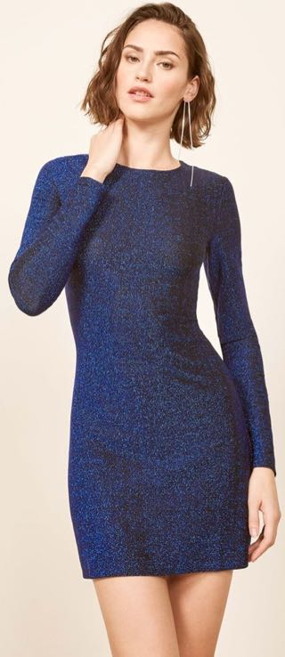 Reformation Blue Sparkle Glitter Dress