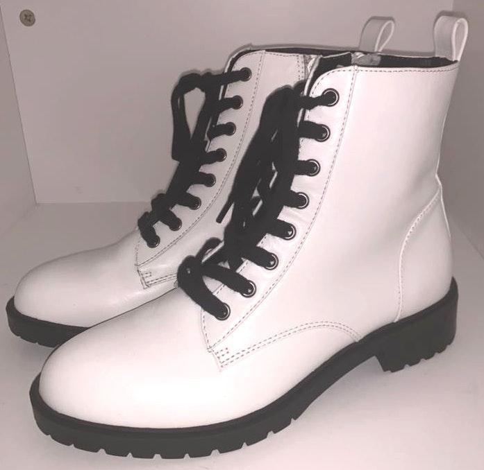 Steve Madden White Combat Boots