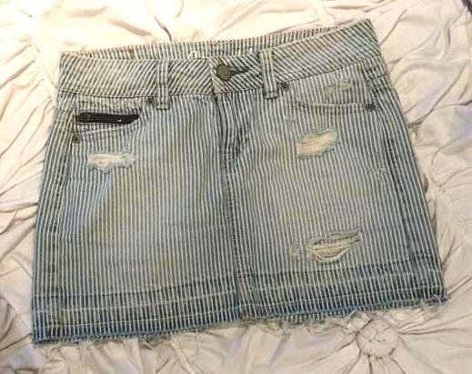 Aeropostale Pinstripe Jean Mini Skirt