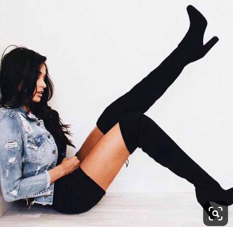 Windsor Black Thigh Highs