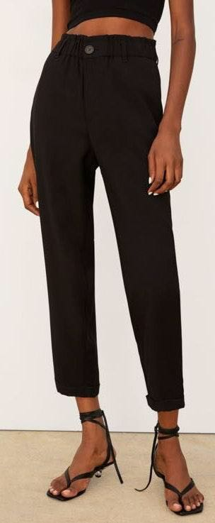 ZARA Black High Waisted Cuffed Pant