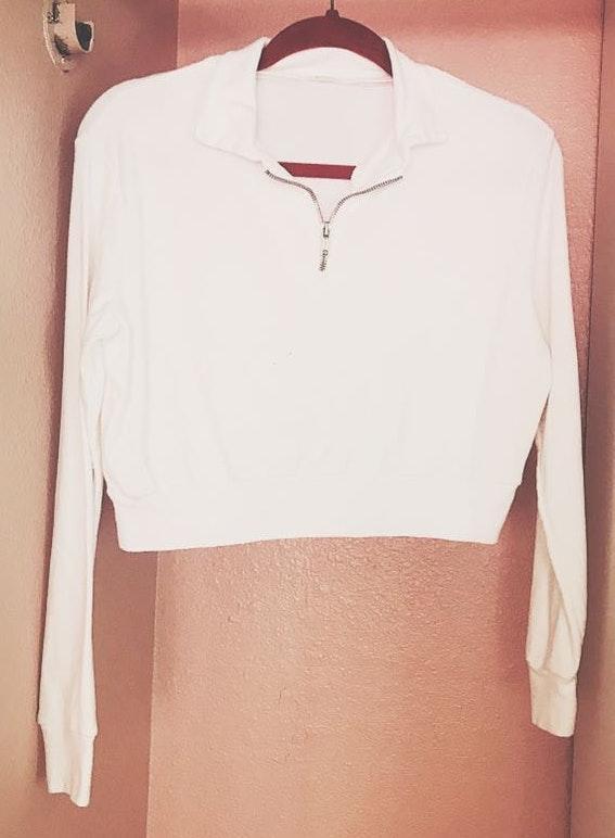 Brandy Melville White Front Zip Top