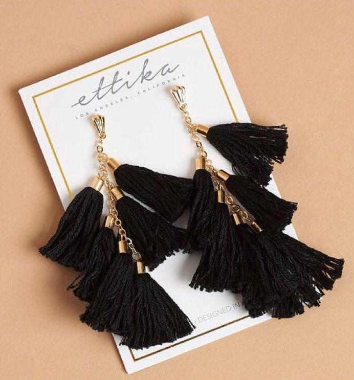 Ettika Daydreamer Tassel Earrings in Black and Gold