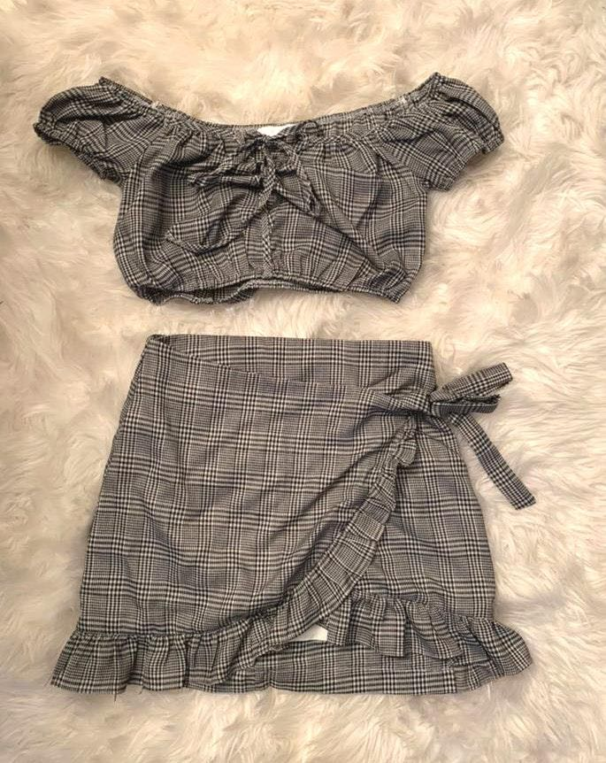 Grey Bandit Plaid 2 Piece Set