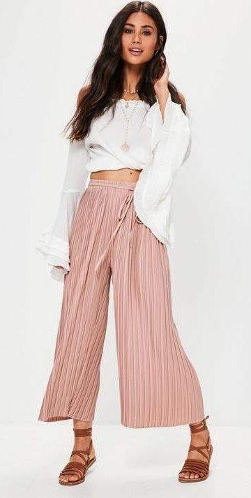 Missguided Pink Pleated Culottes With Skinny Tie Belt