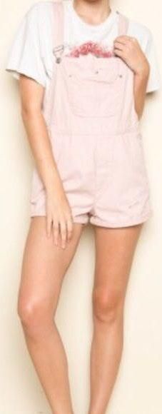 Brandy Melville Baby Pink Overalls