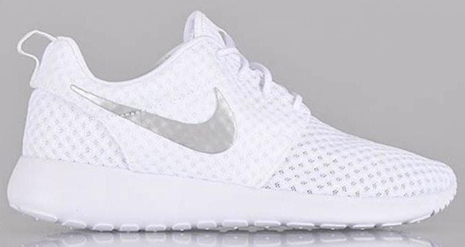 Nike White And Silver Roshes