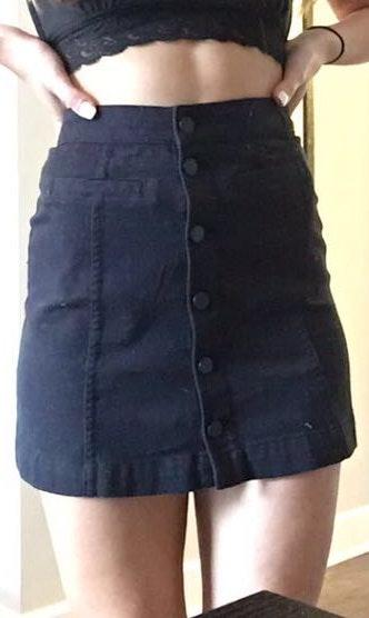Divided Black Jean Skirt