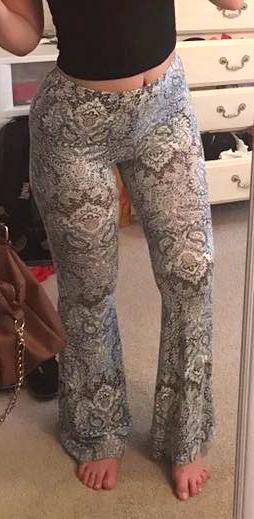 White With Pattern Flowy Pants