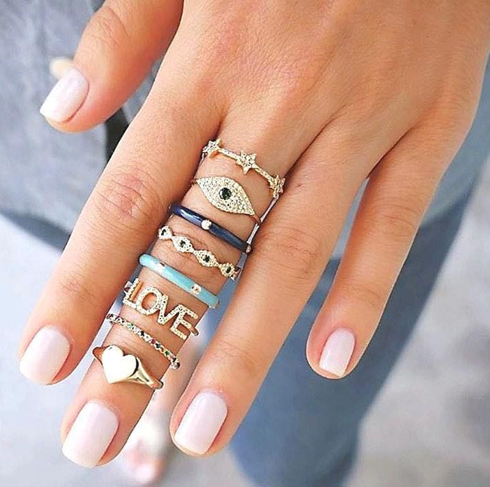 Beverly Hills Boutique Boho 8 Ring Set Dipped In Gold...