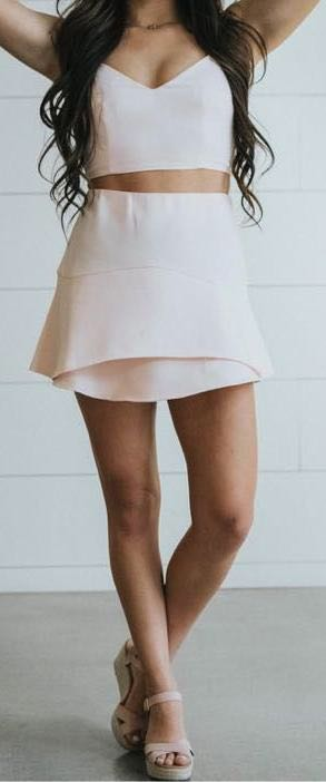 L'ATISTE Light Pink Two Piece
