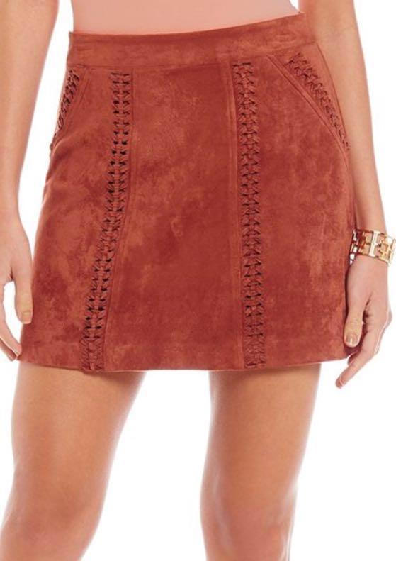 Gianni Bini NEW Camel Suede Mini Skirt