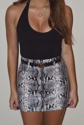 Honey Punch Zip Up Snakeskin Skirt