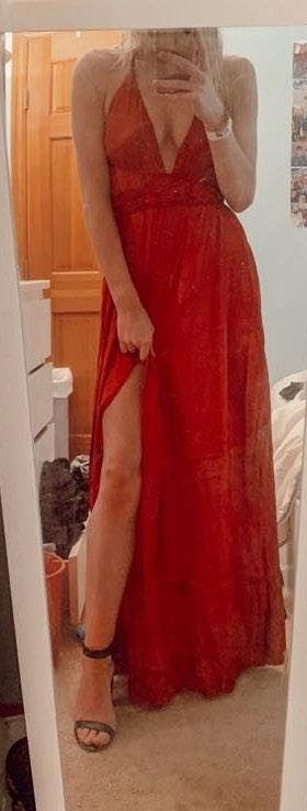 Xenia red satin  prom dress!!