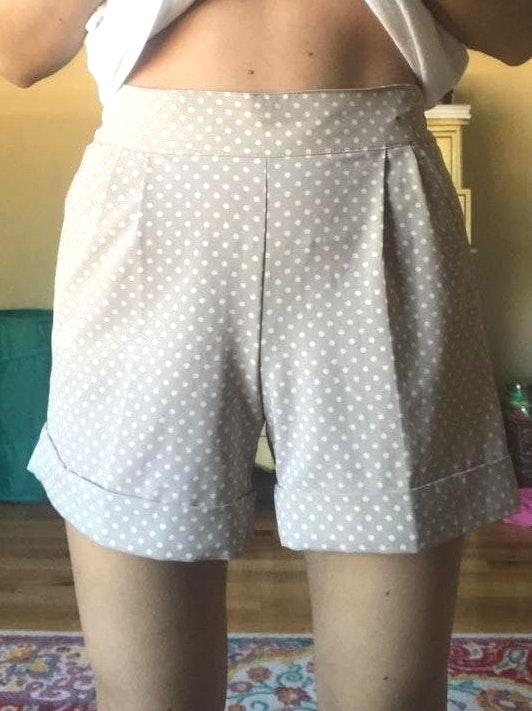 New York & Co. Cream And White Polka Dot Shorts