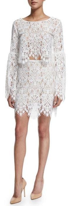 For Love & Lemons Vika White Lace Skirt XS