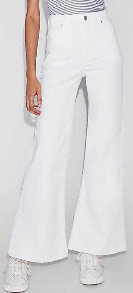 EXPRESS White High Waisted Flare Jeans