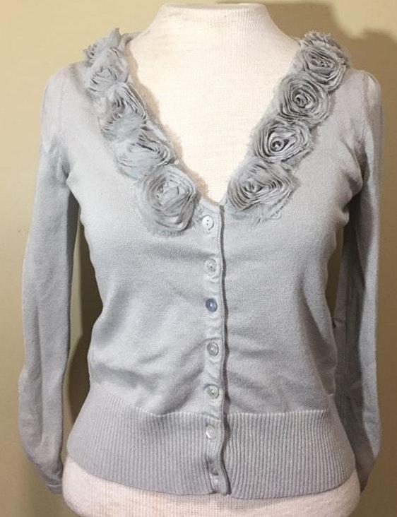 Linda Matthew's Taupe Cardigan Sweater
