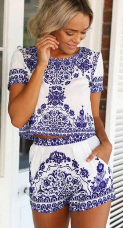 Blue And White Short Set