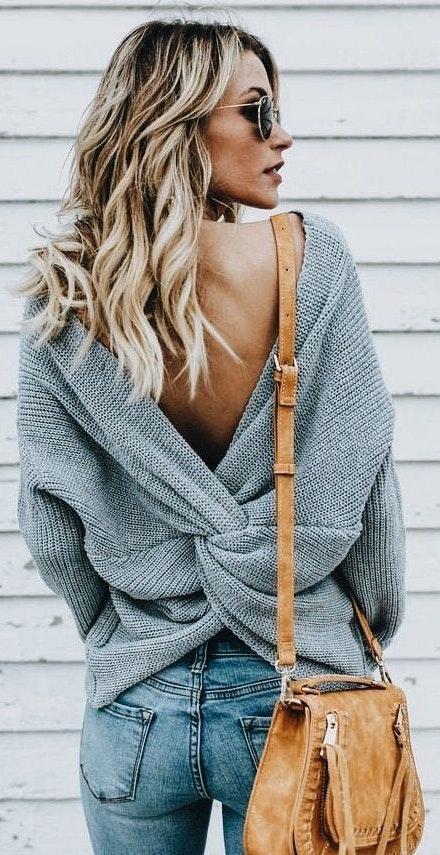Blue Blush Cross Grey Sweater