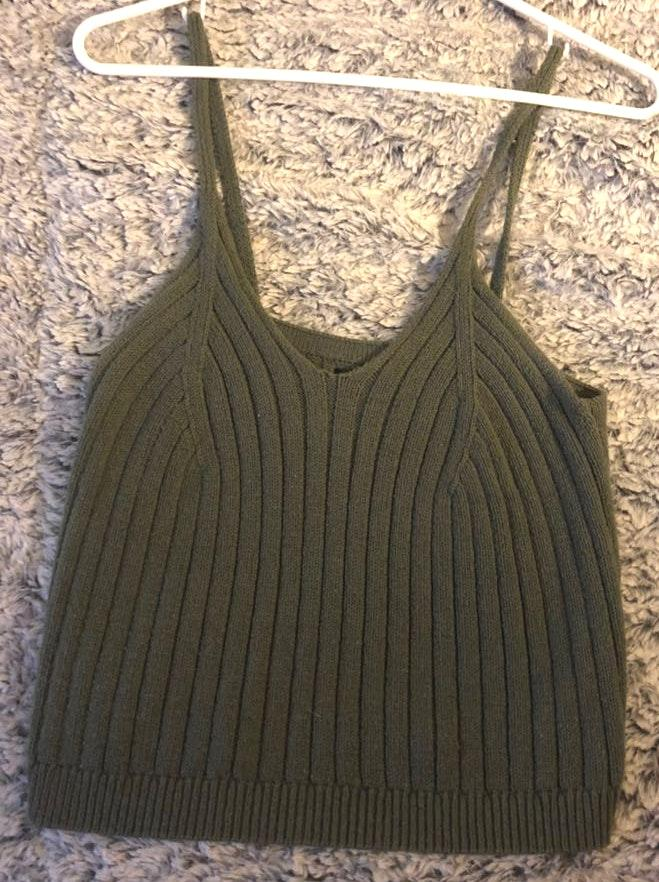 Kendall & Kylie Green Sweater Tank Top